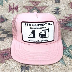 VINTAGE Pink Trucker Hat Oil Rig Patch OKC, OK